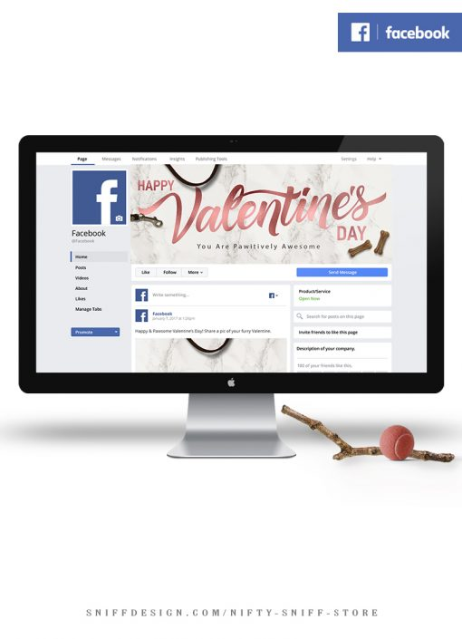 Happy Valentine's Day Pawsitively Awesome Social Media Graphics for Pet Businesses on Facebook and Instagram